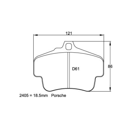 Plaquettes arriere Pagid RSL29 Jaune - Porsche 911 (996) Turbo (99-05) / 2405-RSL29 - Apex Performance