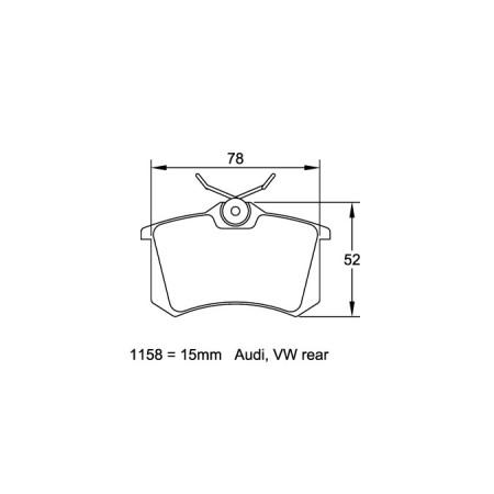 Plaquettes arriere Pagid RSL29 Jaune - Audi S3 Quattro (8L) 1999-03 / 1158-RSL29 - Apex Performance