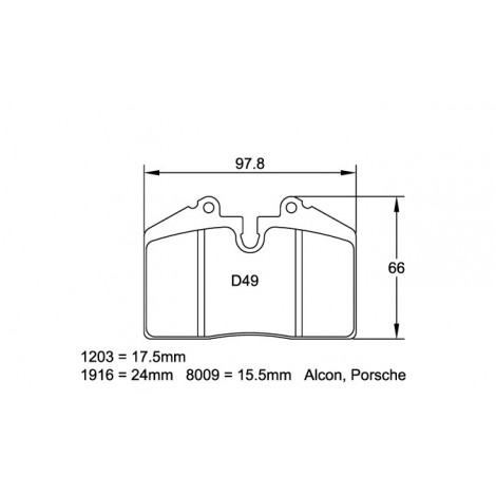 Plaquettes arriere Pagid RSL29 Jaune - Ferrari 512 Testarossa (92-96) / 1203-RSL29 - Apex Performance