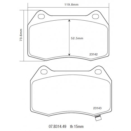 Plaquettes avant Brembo HP2000 - Nissan 350Z (Z33) (03+) / 07.B314.49 - Apex Performance